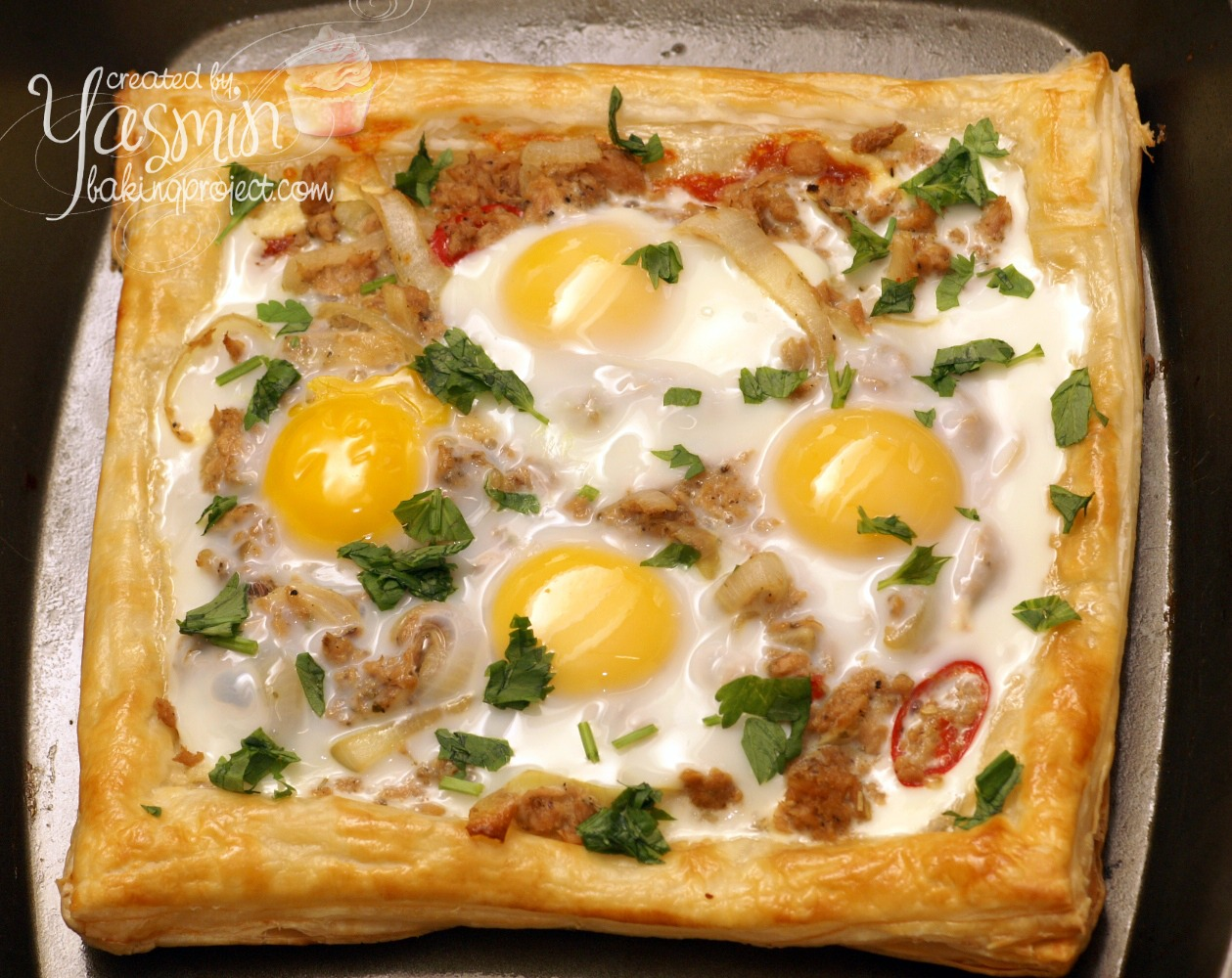 Tuna and egg in puff pastry